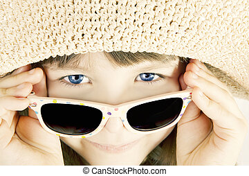 smiling girl with sunglasses