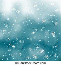 closeup snowfall on dark sky backdrop