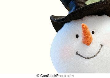 closeup Snowman face isolated