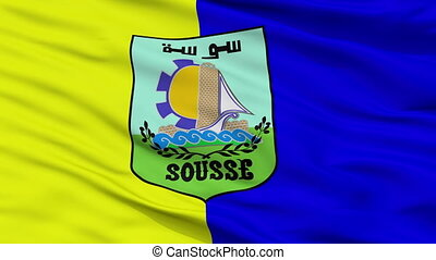 Closeup Sousse city flag, Tunisia - Sousse closeup flag,...