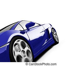 closeup, sportcar, vrijstaand, aanzicht