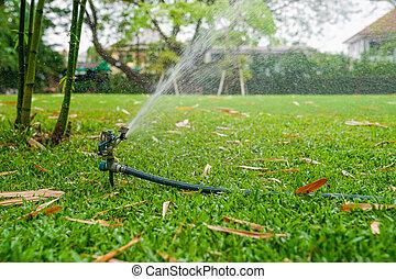 sprinkle splashing water on grass