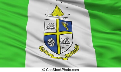 Closeup St. Catharines city flag, Canada - St. Catharines...
