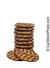 closeup stack chocolate cookies