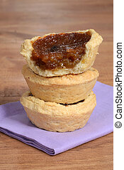 closeup stack of butter tarts