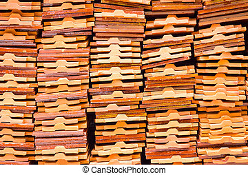 closeup stack of earthenware roof tile prepare for thai tradition building