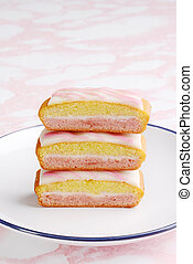 closeup stack of english angel cake slices