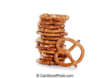 closeup stack of salted pretzels