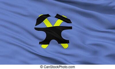 Closeup Starachowice city flag, Poland - Starachowice...