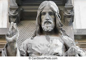 closeup, statue, jésus