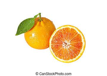 one orange with half