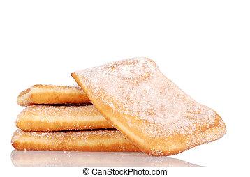closeup sugar donuts shallow DOF