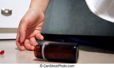 closeup, suicide, lent, bouteille, médicaments, pilules, ...