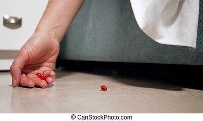 closeup, suicide, lent, plancher, médicaments, pilules, bed...