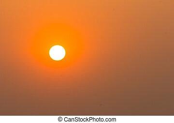 Closeup sunset in clear sky