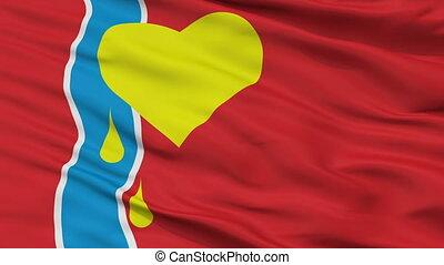Closeup Susuman city flag, Russia - Susuman closeup flag,...