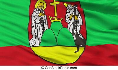 Closeup Suwalki city flag, Poland - Suwalki closeup flag,...