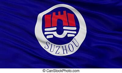 Closeup Suzhou city flag, China - Suzhou closeup flag, city...