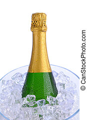 closeup, szampańska butelka, wiadro, lód