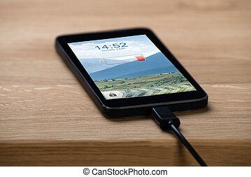 closeup, téléphone, connecté, intelligent, chargeur