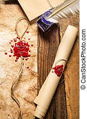 closeup, tabela, cera, tinta, scrolls, madeira, antigas, marcando, azul