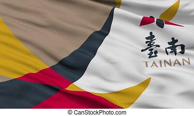 Closeup Tainan city flag, China - Tainan closeup flag, city...