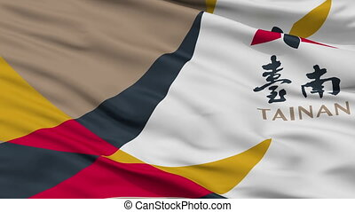 Closeup Tainan city flag, Taiwan