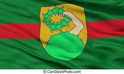 Closeup Talsi city flag, Latvia - Talsi closeup flag, city...