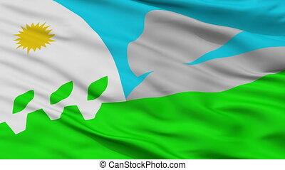 Closeup Tandil city flag, Argentina