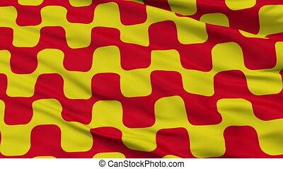 Closeup Tarragona city flag, Spain - Tarragona closeup flag,...