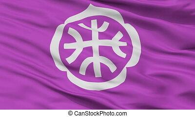 Closeup Tatebayashi city flag, prefecture Gunma, Japan -...