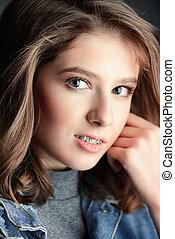 closeup teenager face