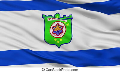 Closeup Tel Aviv city flag, Israel - Tel Aviv closeup flag,...