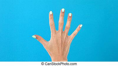 closeup, telling, 5, vrouwelijke hand