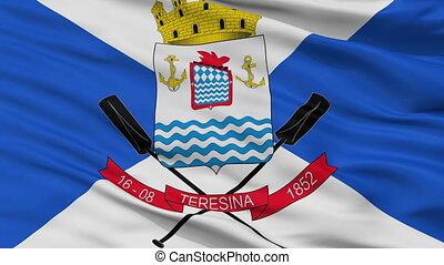 Closeup Teresina city flag, Brasil - Teresina closeup flag,...