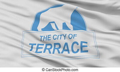 Closeup Terrace city flag, Canada - Terrace closeup flag, ...