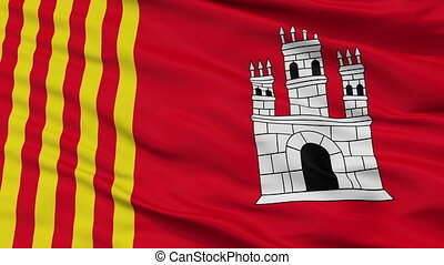 Closeup Terrassa city flag, Spain - Terrassa closeup flag,...