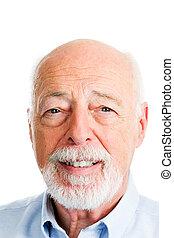 closeup, -, testa, uomo, anziano, colpo