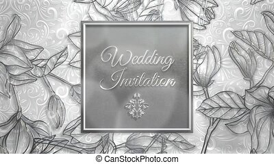 Closeup text Wedding Invitation and vintage frame with ...