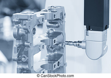 Closeup the Coordinate Measuring Machine (CMM) while measure the sample part with the laser probe in light-blue scene in the horizontal level