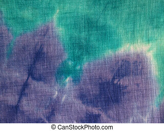 Closeup Tie-dye Blur - aqua & purple tie-dye blur on cotton,...