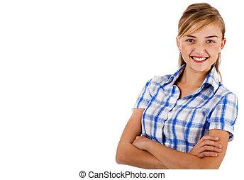 closeup, tiro, de, um, jovem, mulheres negócio