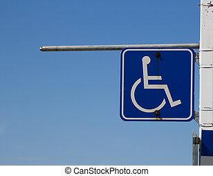 Closeup to a Disabled Sign