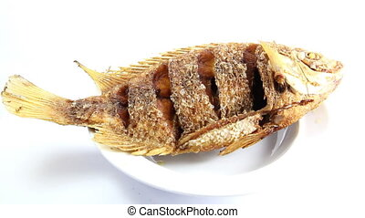 deep fried fish with spicy sauce - Closeup to Thai...