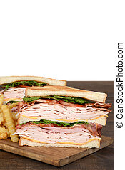 closeup toasted turkey club sandwich with fries