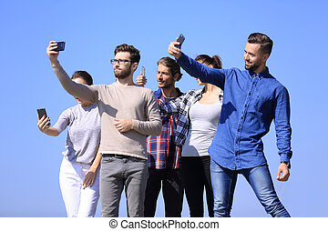 closeup. today's young people are taking selfies.