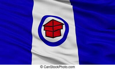 Closeup Toledo city flag, USA - Toledo closeup flag, city of...