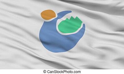 Closeup Tomioka city flag, prefecture Gunma, Japan - Tomioka...