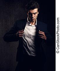 closeup, toned, estilo, moda, sombra, camisa, modelo, olhar...