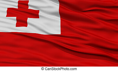 Closeup Tonga Flag, Waving in the Wind, High Resolution